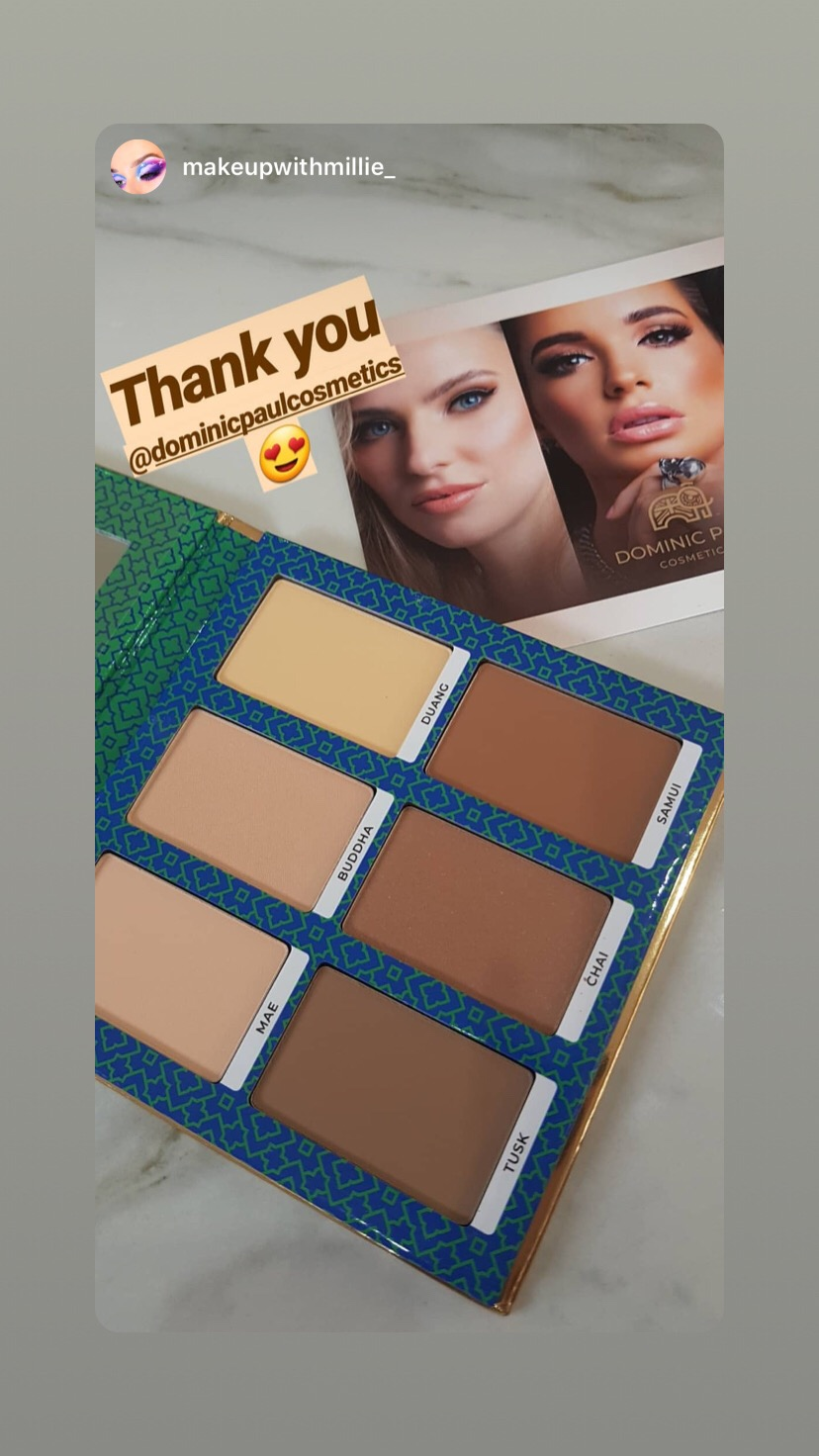 Instagram star makeupwithmillie loves her Dominic Paul cosmetics contour palette