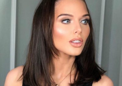 Helen Flanagan wearing our Dominic Paul cosmetics palette for her birthday