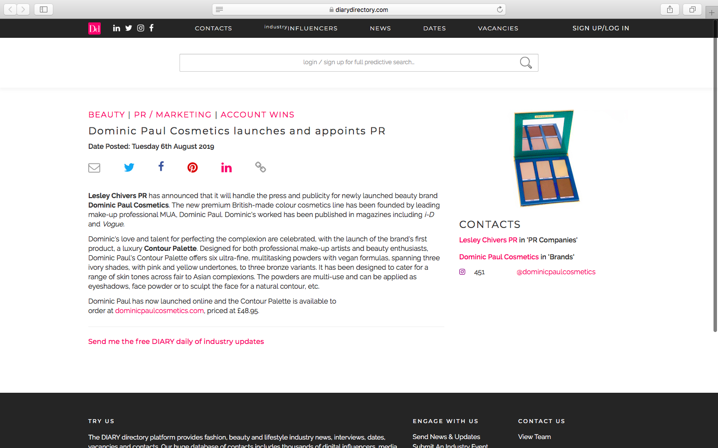 Diary Directory | Dominic Paul Cosmetics launches and appoints PR