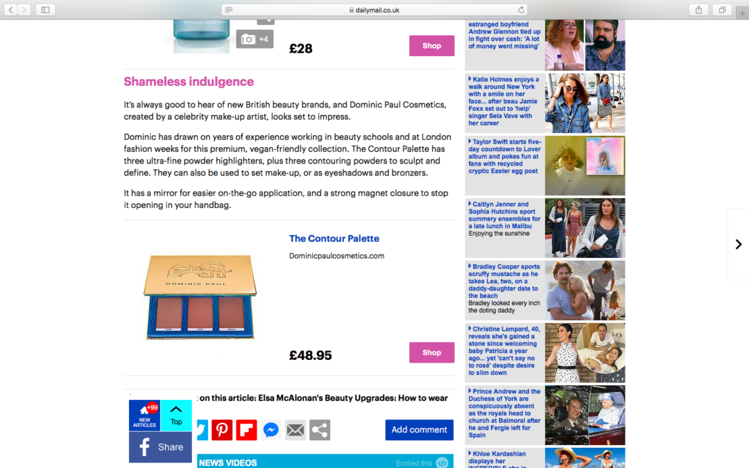 We're in the Daily Mail | DOMINIC PAUL COSMETICS