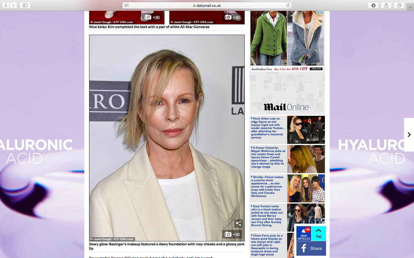 Super star Hollywood actress and original Bond girl – Kim Basinger wearing my contour palette at last nights charity gala.