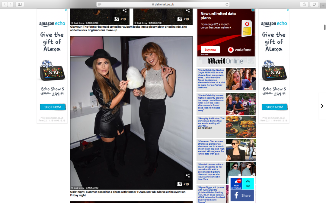Summer Monteys Fullam and Abigail Clarke at our Dominic Paul Cosmetics Launch Party   Daily Mail
