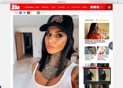 JEMMA LUCY ROCKING DOMINIC PAUL COSMETICS IN THE DAILY STAR